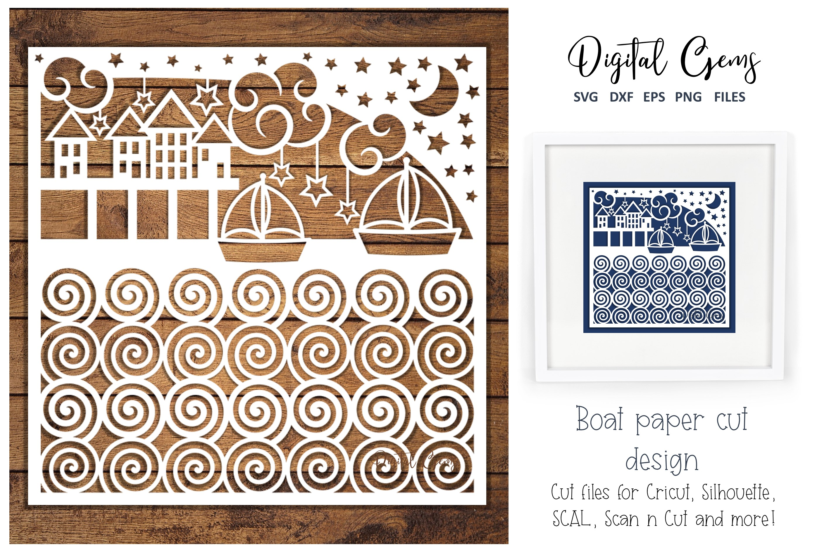 Download Free Sea Scene Boat Paper Cut Design Graphic By Digital Gems for Cricut Explore, Silhouette and other cutting machines.