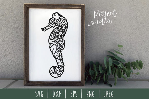 Seahorse Mandala Zentangle Graphic Crafts By SavoringSurprises