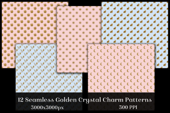 Seamless Golden Crystal Charm Patterns Graphic By SapphireXDesigns Image 2