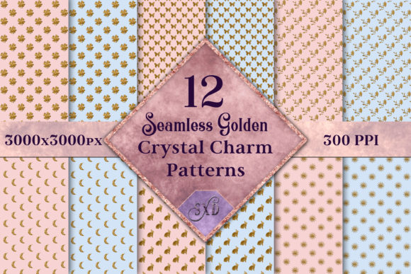 Seamless Golden Crystal Charm Patterns Graphic By SapphireXDesigns