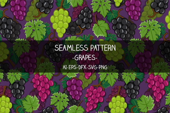 Print on Demand: Seamless Grapes Pattern Graphic Illustrations By Bayu Baluwarta
