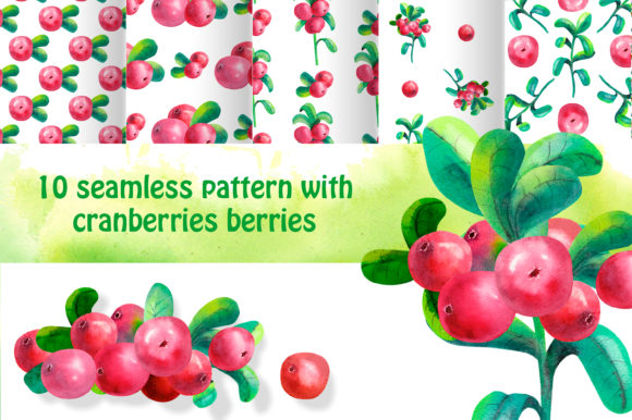 Print on Demand: Seamless Patterns. Cowberry. Watercolor Graphic Illustrations By Natika_art