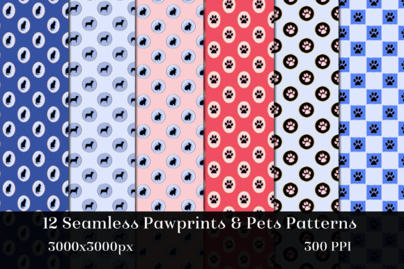 Print on Demand: Seamless Pawprints & Pets Patterns Graphic Patterns By SapphireXDesigns - Image 2