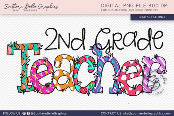 Second Grade Teacher Graphic Crafts By Southern Belle Graphics