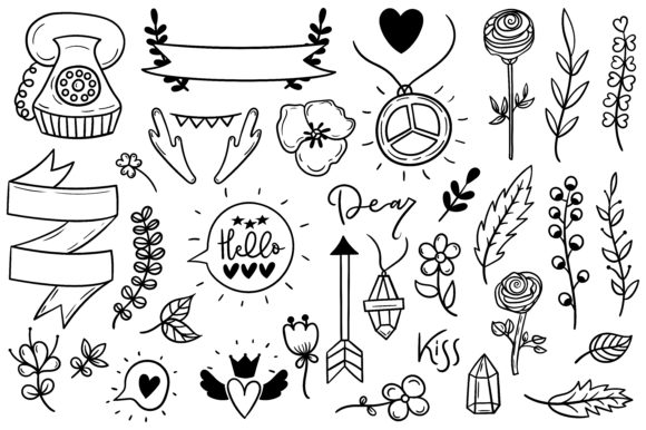 Set of Cute Boho Doodles Graphic Illustrations By Sentimental Postman