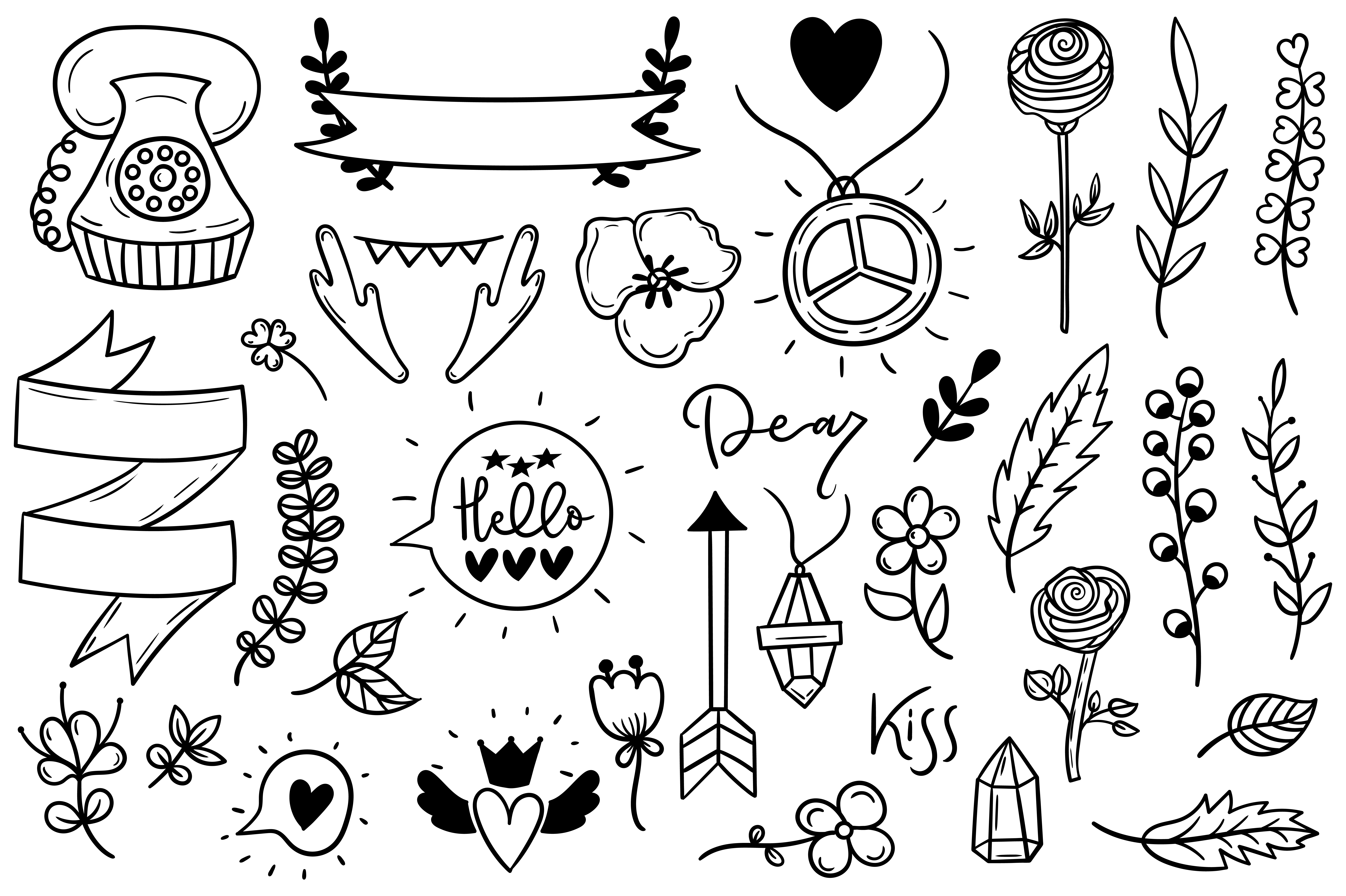 Download Free Set Of Cute Boho Doodles Graphic By Sentimental Postman for Cricut Explore, Silhouette and other cutting machines.