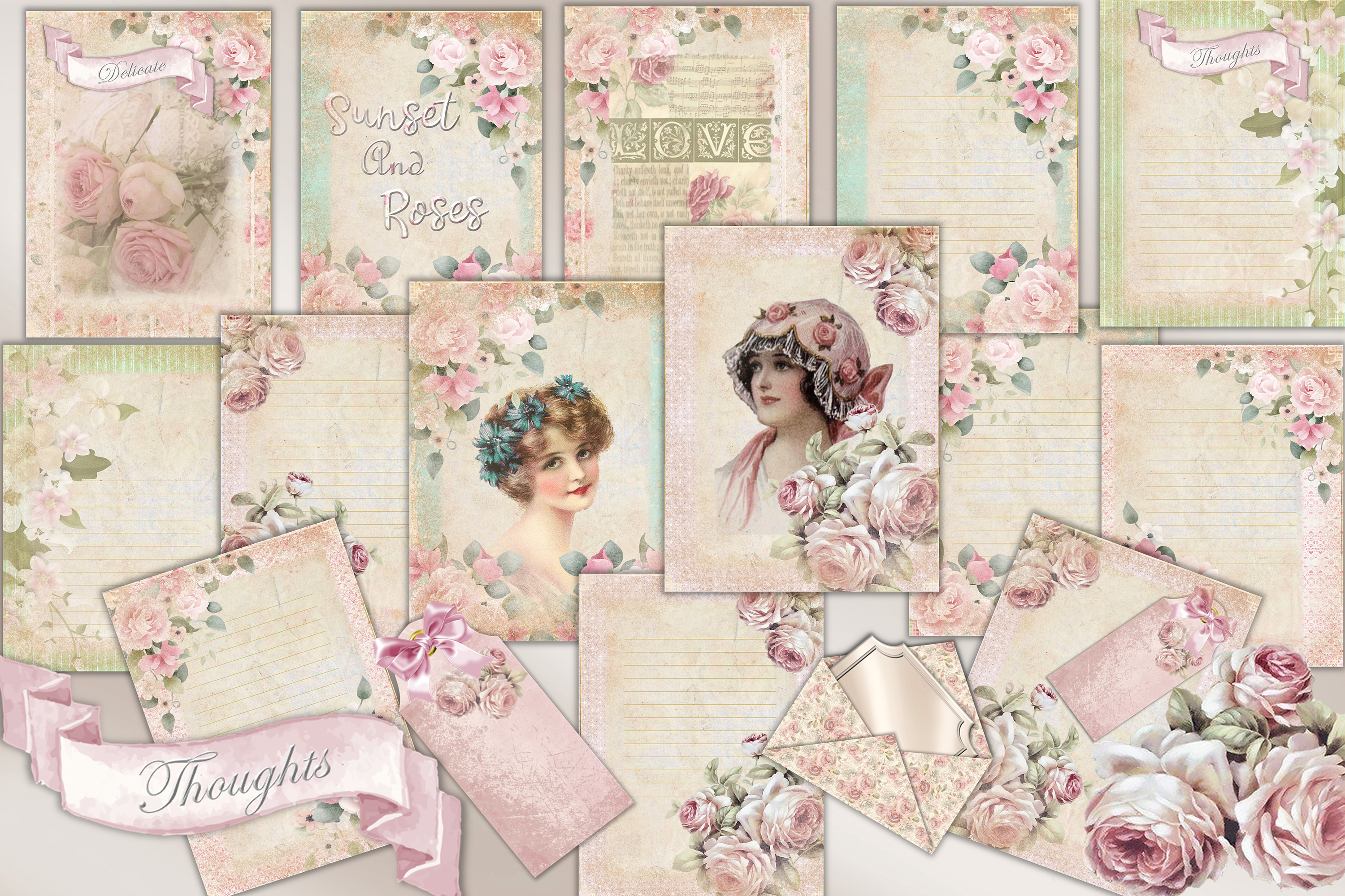 Download Free Shabby Chic Backgrounds With Ephemera Grafik Von The Paper for Cricut Explore, Silhouette and other cutting machines.
