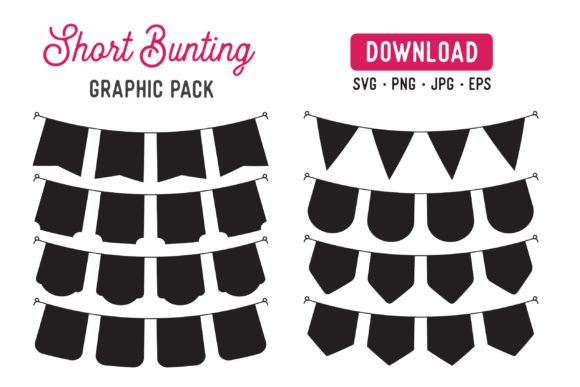 Print on Demand: Short Bunting Banner Vector Clipart Pack Graphic Illustrations By The Gradient Fox