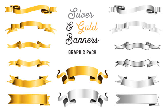 Print on Demand: Silver and Gold Banner Pack Graphic Illustrations By The Gradient Fox