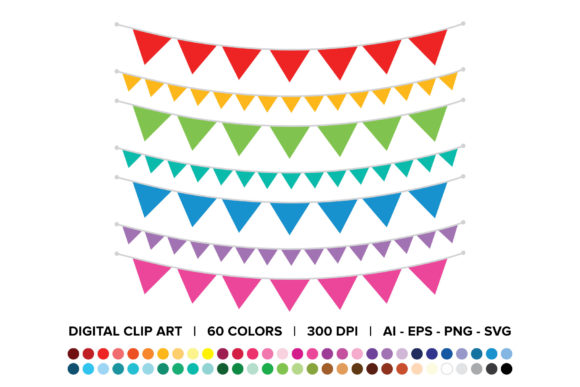 Print on Demand: Single Color Triangle Banner Clip Art Set Graphic Objects By Running With Foxes