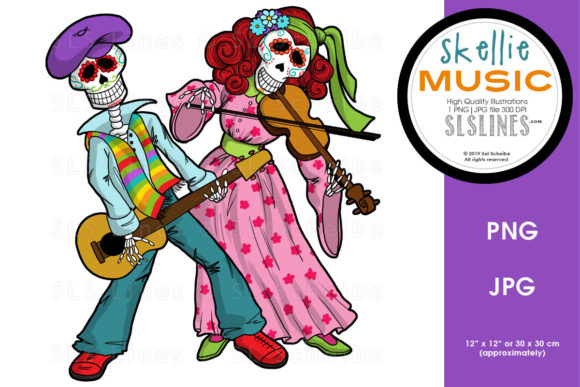 Print on Demand: Skeleton Dance Band PNG Graphic Graphic Illustrations By SLS Lines