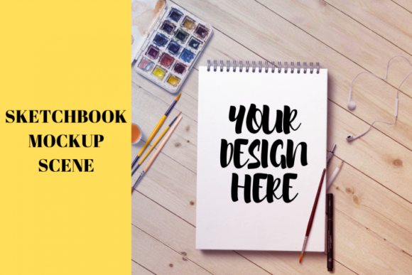 Print on Demand: Sketchbook Mockup Scene Graphic Product Mockups By Mockup Venue