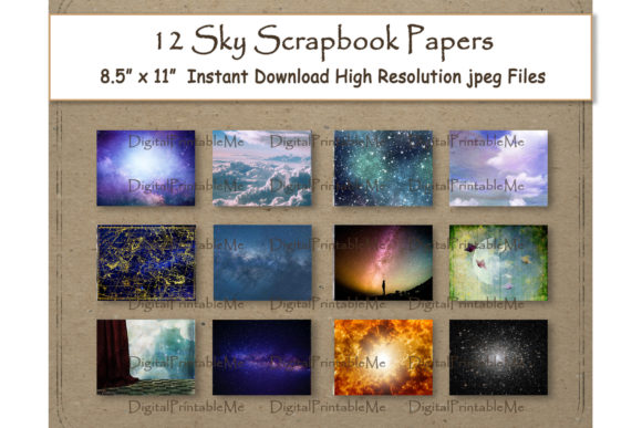 Print on Demand: Sky Digital Paper 11 Graphic Backgrounds By DigitalPrintableMe