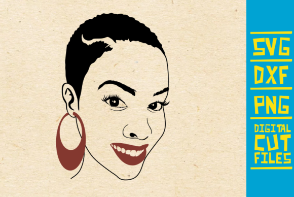 Download Free Smiling Black Woman Svg Earrings Africa Graphic By for Cricut Explore, Silhouette and other cutting machines.