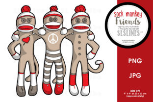 Sock Monkey Friends Forever Graphic By SLS Lines