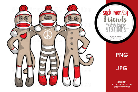 Print on Demand: Sock Monkey Friends Forever Graphic Illustrations By SLS Lines