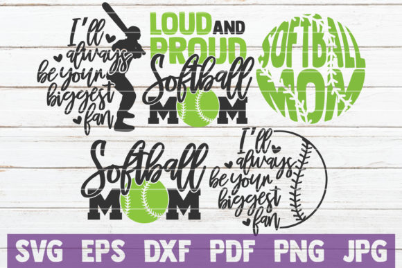 Download Free Softball Mom Bundle Cut Files Graphic By Mintymarshmallows for Cricut Explore, Silhouette and other cutting machines.