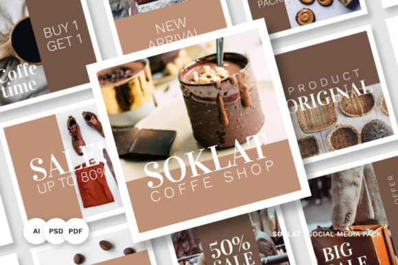 Soklat Social Media Pack Graphic Websites By Abbidzart Store