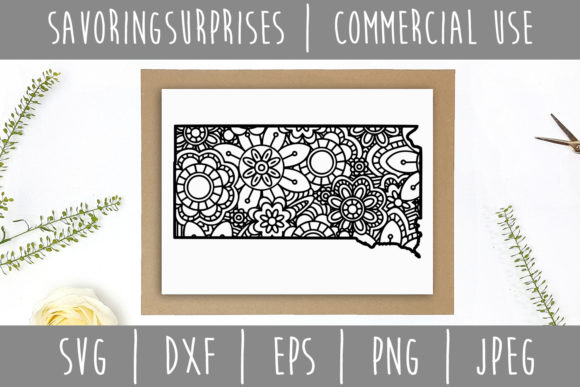Download Free South Dakota State Mandala Zentangle Graphic By for Cricut Explore, Silhouette and other cutting machines.