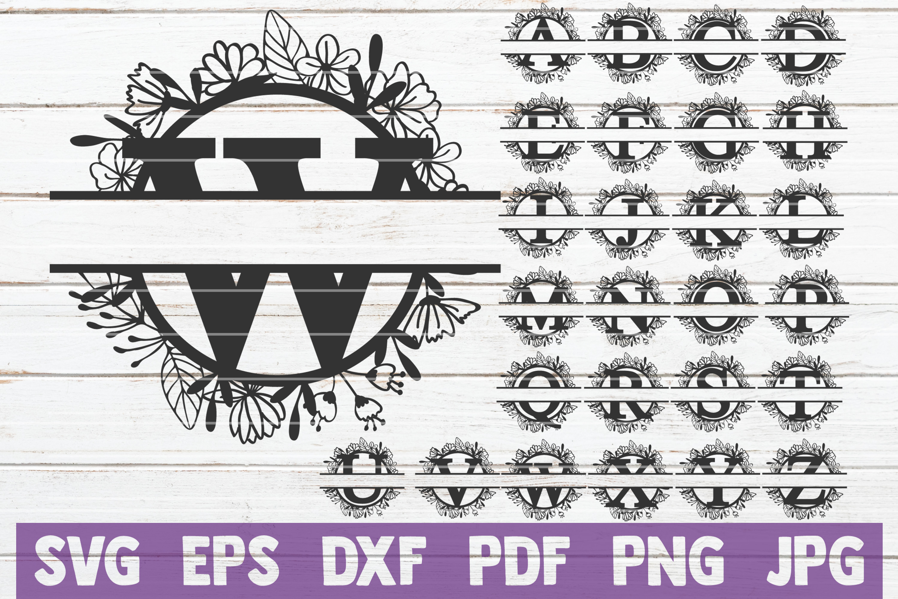 Download Free Split Floral Monogram Svg Bundle Graphic By Mintymarshmallows for Cricut Explore, Silhouette and other cutting machines.