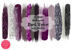 Spooky Halloween Brush Strokes Clipart Graphic By Happy Printables Club