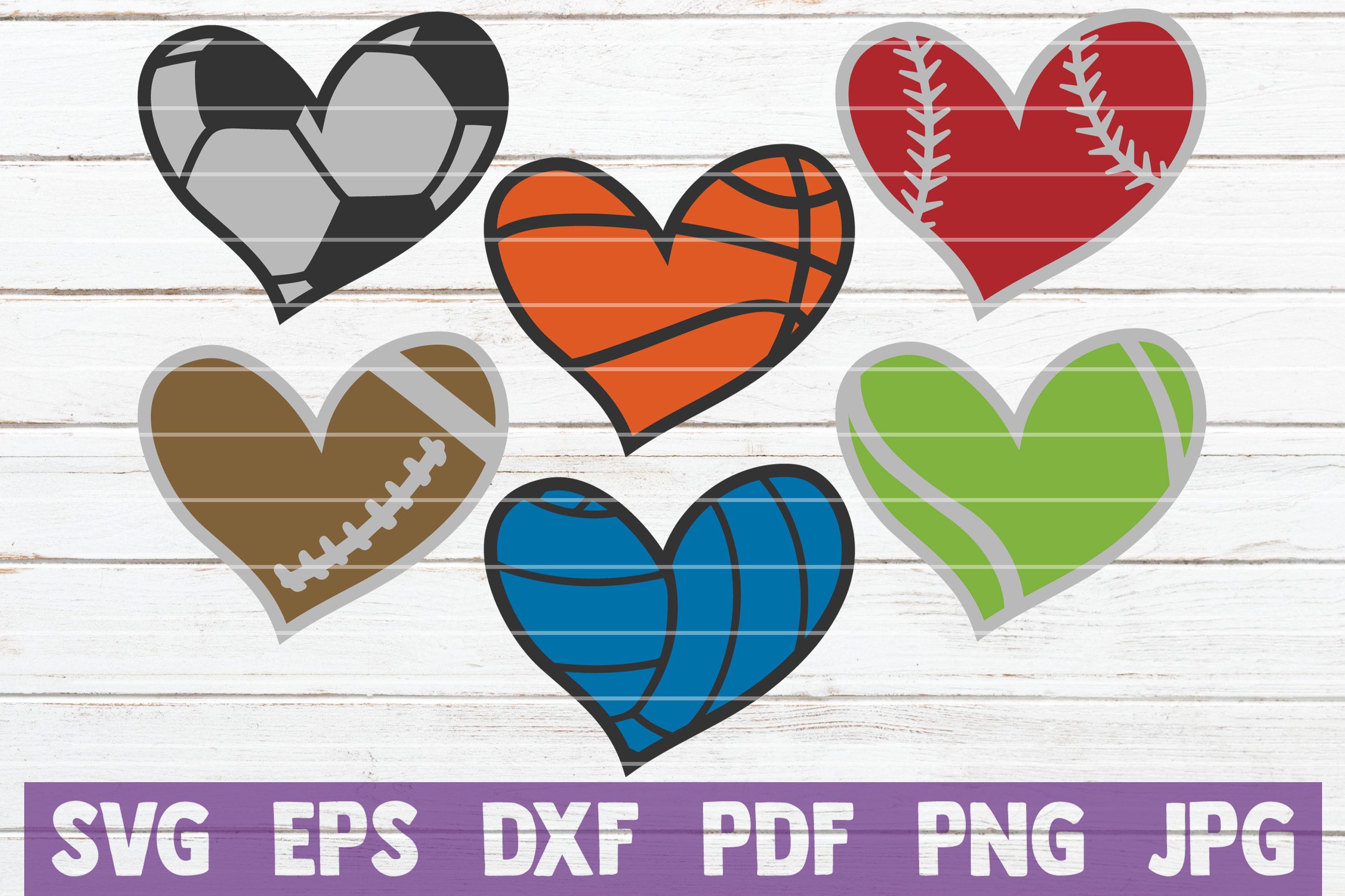 Download Free Sport Hearts Bundle Cut Files Graphic By Mintymarshmallows for Cricut Explore, Silhouette and other cutting machines.