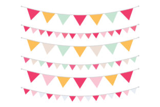 Print on Demand: Spring Pink Orange & Mint Bunting Banner Gráfico Objetos Por Running With Foxes