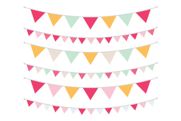 Print on Demand: Spring Pink Orange & Mint Bunting Banner Graphic Objects By Running With Foxes