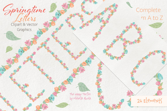 Print on Demand: Springtime 01 Letters Clipart & Vector Graphic Illustrations By Michelle Alzola - Image 2