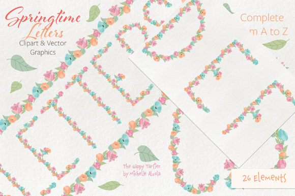 Print on Demand: Springtime 01 Letters Clipart & Vector Graphic Illustrations By Michelle Alzola - Image 3