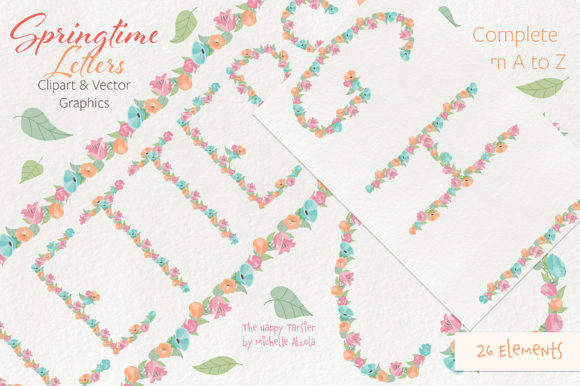 Print on Demand: Springtime 01 Letters Clipart & Vector Graphic Illustrations By Michelle Alzola - Image 4