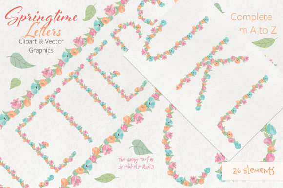 Print on Demand: Springtime 01 Letters Clipart & Vector Graphic Illustrations By Michelle Alzola - Image 5