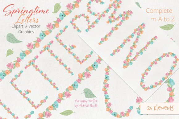 Print on Demand: Springtime 01 Letters Clipart & Vector Graphic Illustrations By Michelle Alzola - Image 6