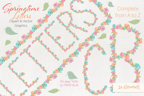 Print on Demand: Springtime 01 Letters Clipart & Vector Graphic Illustrations By Michelle Alzola - Image 1
