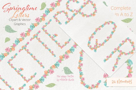 Print on Demand: Springtime 01 Letters Clipart & Vector Graphic Illustrations By Michelle Alzola - Image 7
