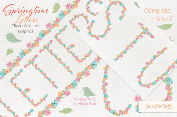 Print on Demand: Springtime 01 Letters Clipart & Vector Graphic Illustrations By Michelle Alzola - Image 8