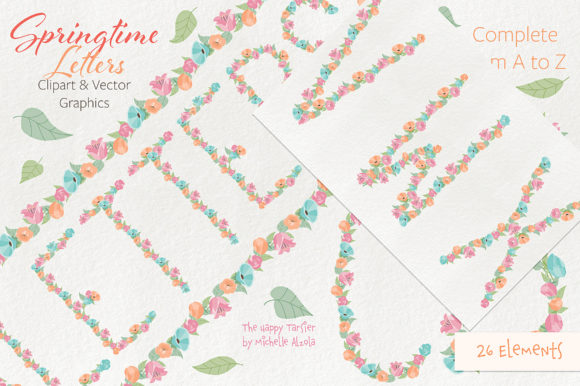 Print on Demand: Springtime 01 Letters Clipart & Vector Graphic Illustrations By Michelle Alzola - Image 9