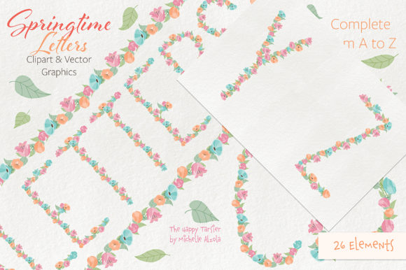 Print on Demand: Springtime 01 Letters Clipart & Vector Graphic Illustrations By Michelle Alzola - Image 10