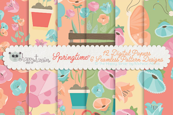 Print on Demand: Springtime 01 Seamless Pattern Designs Graphic Patterns By Michelle Alzola