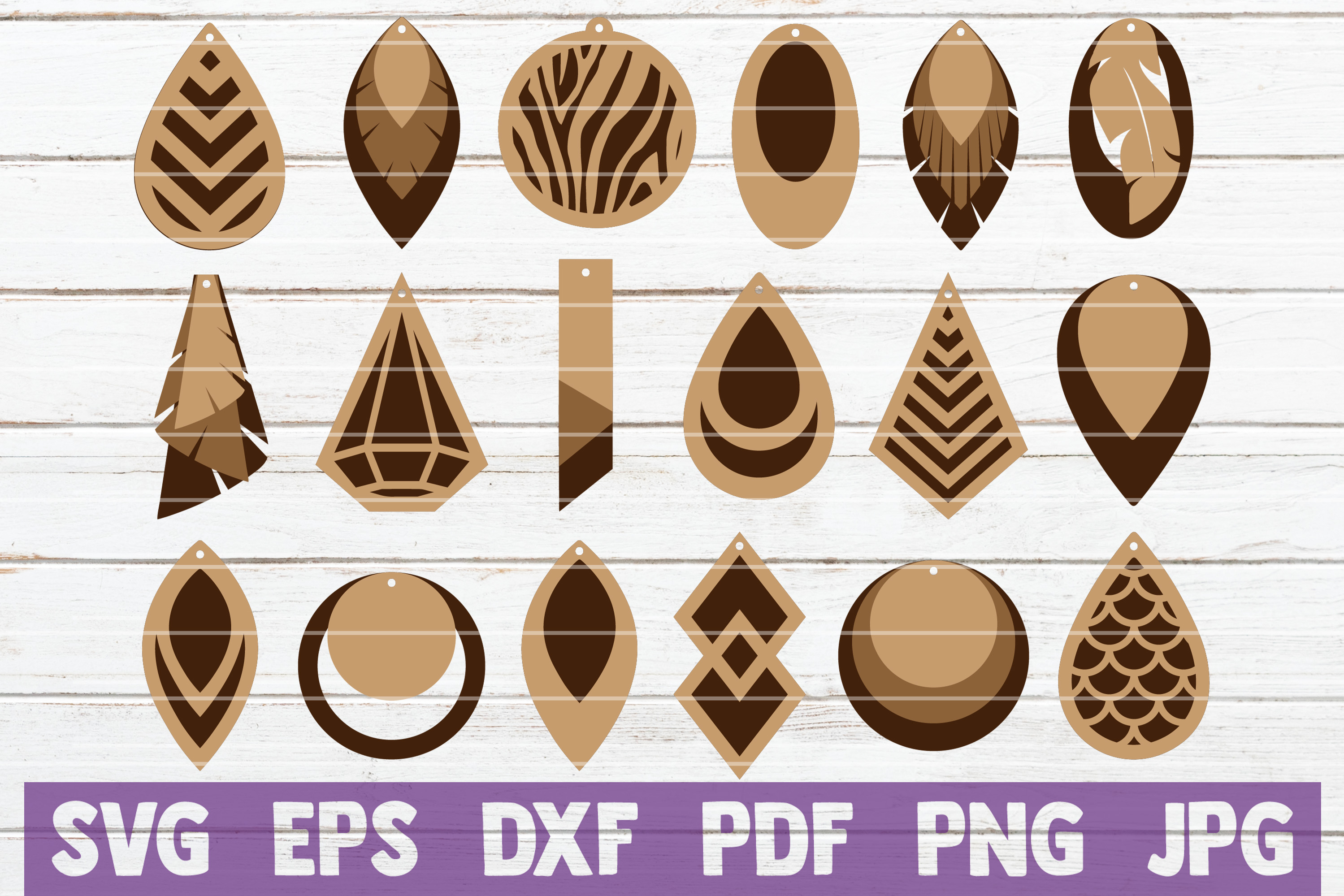 Stacked Earrings Bundle Svg Cut Files Graphic By
