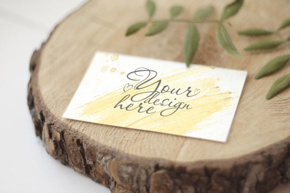 Print on Demand: Stationery Mockup Card on Wood Graphic Product Mockups By Natalia Arkusha