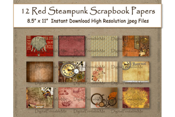 Steampunk Digital Paper 11 Graphic Backgrounds By DigitalPrintableMe - Image 1
