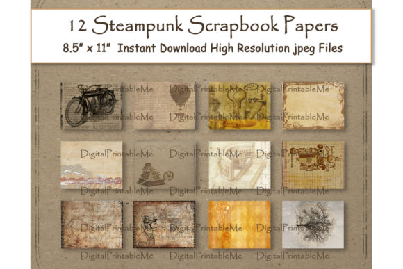 Print on Demand: Steampunk Digital Paper 11 Graphic Backgrounds By DigitalPrintableMe