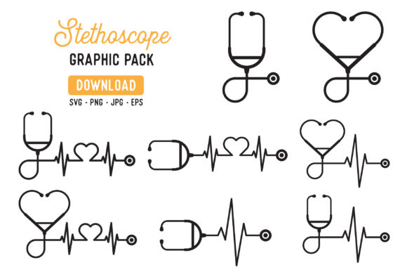Print on Demand: Stethoscope Vector Graphic Pack Graphic Illustrations By The Gradient Fox - Image 1