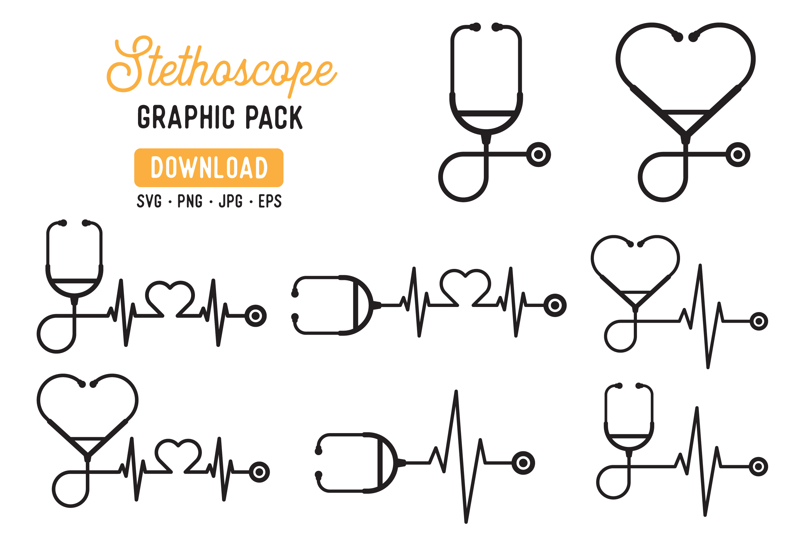 Download Free Stethoscope Vector Graphic Pack Graphic By The Gradient Fox for Cricut Explore, Silhouette and other cutting machines.