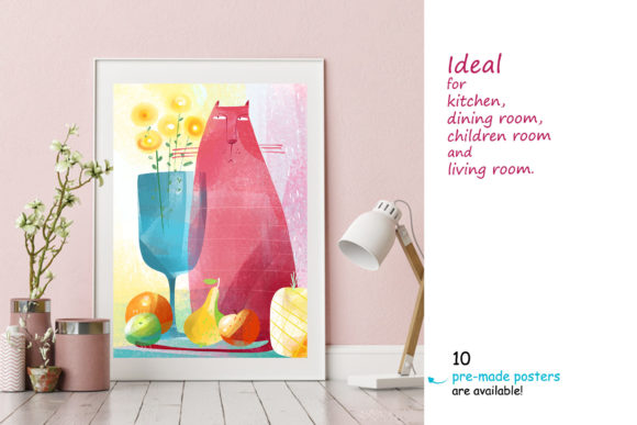 Print on Demand: Still Life with a Cat - Poster Creator Graphic Illustrations By Zooza Art - Image 4