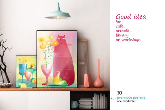 Print on Demand: Still Life with a Cat - Poster Creator Graphic Illustrations By Zooza Art - Image 6