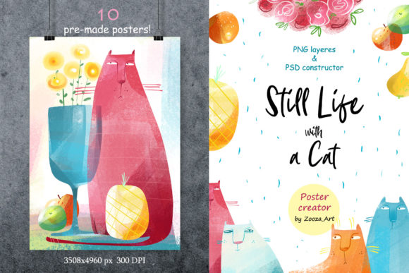 Print on Demand: Still Life with a Cat - Poster Creator Graphic Illustrations By Zooza Art