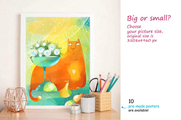 Print on Demand: Still Life with a Cat - Poster Creator Graphic Illustrations By Zooza Art - Image 7