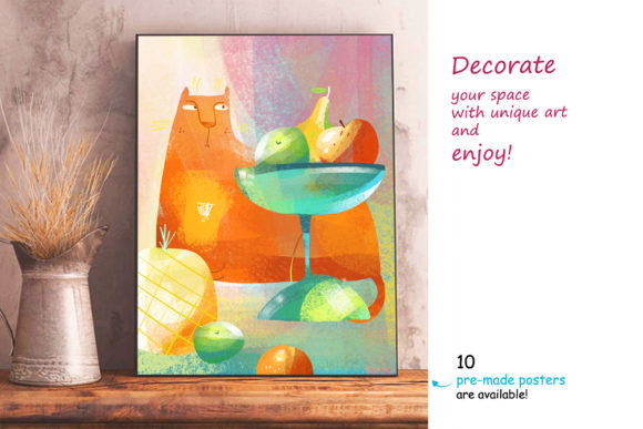 Print on Demand: Still Life with a Cat - Poster Creator Graphic Illustrations By Zooza Art - Image 10